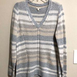Sonoma Sweater V Neck Long Sleeve Striped …